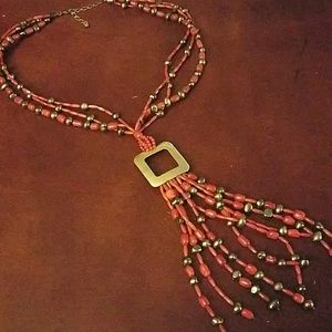 Jay king drt sterling coral and black pearl neckla